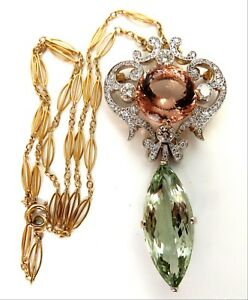 GIA Certified 16.31 Morganite & 26.30 Green Amethyst Diamonds Necklace