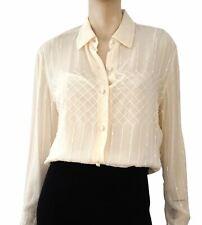 EMANUEL UNGARO 44 Embellished Ivory Silk Chiffon Button Front Blouse 10