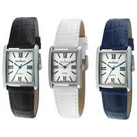 Women's Dress Tank Wrist Watch /w Silver-Tone Case & Leather Band by Peugeot