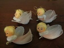 Vintage Spun Cotton Chenille Pipe Cleaner Tulle Angel Ornament Lot Of 4