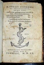 1555 Aldine Press CICERO Post Incunable ANCIENT History LATIN Classic PHILOSOPHY