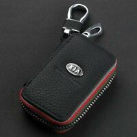 Leather Car logo Key Chain Case Remote Control Auto Keyfob wallet bag for Kia