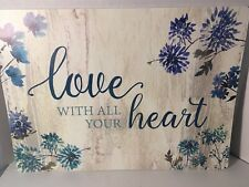 """LOVE WITH  ALL YOUR  HEART  Table  Foam Placemats SENTIMENT  18""""x13"""" Set of 4"""