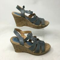 Born Casual Wedge Slingback Sandals 9 Womens Buckle Open Toe Cork Leather Blue