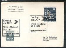 Österreich Erstflug Austrian Airlines WIEN MAILAND 30.8.1971 gelaufen Milano