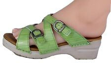 Dansko women's sandals strappy slide wedge green patent leather size 37