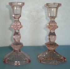 Vintage Antique Candlestick Holders Pink Pressed Glass w/ air bubbles