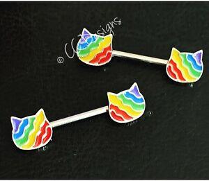 14g pair of enamel rainbow pride cat nipple rings #652