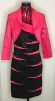 Stunning FRANK LYMAN Black Pink Striped Dress and Jacket Outfit UK 10 Wedding