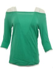 Ladies H.I.S Top Tunic Blouse Top T-Shirt Green Cotton 469571