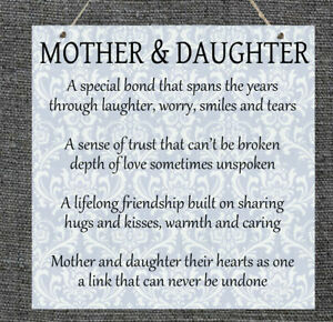 Metal Plaque Mother and Daughter Mother's Day Gift Present Home Sign Love