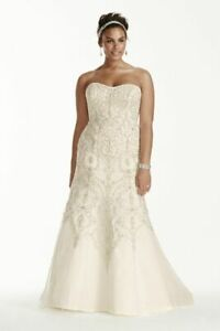 Oleg Cassini Beaded ivory wedding dress approx. UK 20 - check measurements