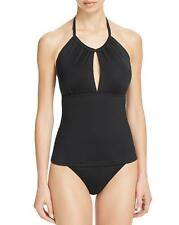 NWT La Blanca Black Island Goddess High Neck Swimsuit Tankini Top 14 $89 jn21