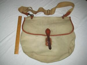 Vintage canvas and leather fly trout fishing bag with separate catch bag