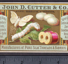 Silk Moth Thread 1800's Silkworm Cutter Sewing Fabric Artistic Victorian Card