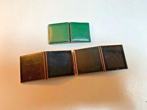 2 Vintage 1940's Portable Multiple Folding photo frames~green vinyl+black enamel
