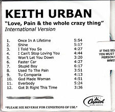 KEITH URBAN  Love, Pain & The Whole Crazy Thing watermarked & numbered promo CD