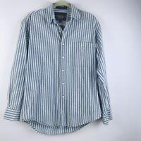 Vintage RALPH LAUREN Chaps Mens Blue Casual Button Front Shirt 34-35 15 1/2 EUC