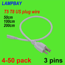 Power Cords 50cm 100cm 200cm Cable  LED T5 T8 Integrated Tube Light Wire US Plug