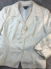 Ann Taylor split cuffed 3/4 slv white 3 button linen blazer Sz 10 M Medium lined