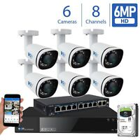8 Channel 4K NVR 6 X 6MP PoE IP Outdoor Onvif Bullet Security Camera System