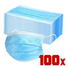 100x Face Mask 3 Ply Disposable Non Medical Surgical Earloop Mouth Cover Safety