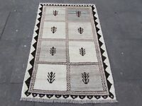 Old Hand Made Traditional Persian Rugs Oriental Beige Wool Gabbeh Rug 155x100cm