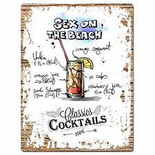 PP0682 Cocktails Sex on the Beach Chic Plate Sign Home Bar Store Cafe Decor