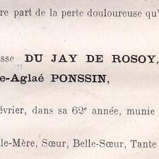 Marie Aglaé Ponssin Du Jay De Rosoy Paris 1870