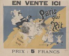 """""""PARIS QUI RIT par Georges DUVAL"""" Affichette originale entoilée CHERET 36x30cm"""
