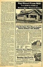 1922 Vintage Print Ad of Gordon Van Tine Co. Hattiesburb Miss Farm House Kit