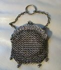 Antique Floral Chatelaine Finger Ring Mesh Chain Mail Leather Lined Coin Purse