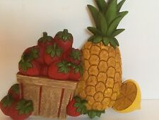Vintage Homco Syroco Dart Co Strawberry Pineapple Plastic Wall Hanging 1975