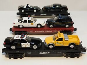 3 FLAT CARS W/FIRST REPONDERS,STATE POLICE,HIGHWAY PATROL,USE/W LIONEL,WEAVER