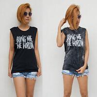 Women's Bring Me The Horizon Vest Tank Top T Shirt Ladies Black Singlet S/M M/L