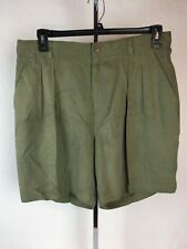 Tommy Bahama Mens Shorts Pleated Green 100% Silk 36 EUC