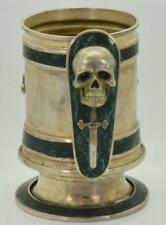 Unique antique Templar/Masonic Memento Mori Skull hand hammered silvered Tankard