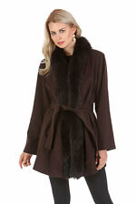 Womens Real Fox Fur Tuxedo Trim Cashmere Jacket Coat Plus Size - Dark Brown