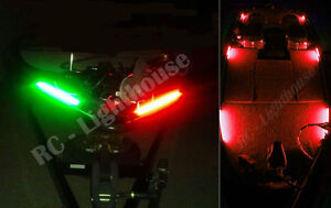 """Bass Boat, fishing, kayak Red / Green Navigation with Red LED Kit 2x1' RG 2x6""""R"""