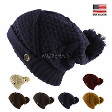 Flip Up Brim Crochet Knit Slouchy Pom Pom Beanie Warm Winter Ski Hat Men Women