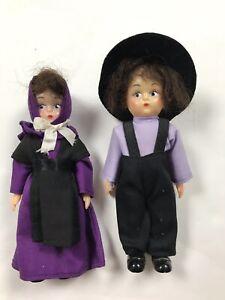 Lot Of 2 Vintage Amish Boy & Girl Composition Dolls