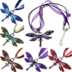 Dragonfly Pendant Necklace Crystal Rhinestone Silver Vintage Style Jewellery