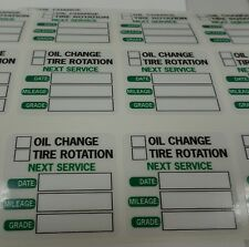 25 Window Clings for Oil Change/Tire Rotation Service Reminder (decals) Green