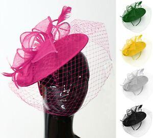 Saucer Sinamay Headband Fascinator Wedding Ascot Hat Hatinator Birdcage Veil