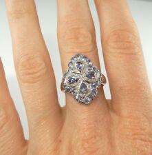 Quatrefoil Tanzanite Diamond Ring 14K White Gold Four Leaf Clover Flower Floral