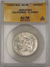 1925-S US California Commemorative Silver 50c Coin ANACS AU-58 Details Cleaned