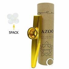 Gold Exquisite Aluminum Alloy Kazoo With 5 Kazoo Flute Diaphragms Musical