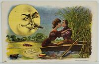 Man in the Moon with Cigar Spying on Couple Kissing Shocked Fish Postcard O8