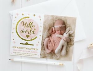 10 Personalised New Baby Thank You Cards / Announcement inc Envelopes + Photo