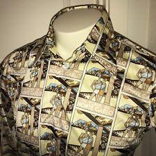 Vtg 60s 70s La Plage de Monte Carlo ART DECO Nylon Mens MEDIUM Disco Mod Shirt M